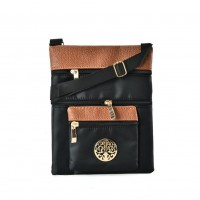 QQ2196 Black - Contrast Zip Front Cross Body Bag With Metal