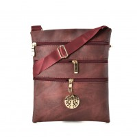 QQ2208 Red - Zip Front Messenger Bag With Metal Detail