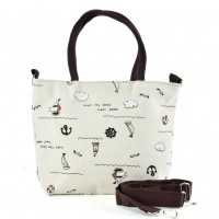 QQ2219 White - Cartoon Shopping Tote Bag
