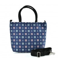 QQ2226 Navy - Cartoon Shopping Tote Bag