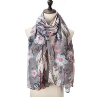 SF1000 Pink - Floral Print Voile Soft Scarf
