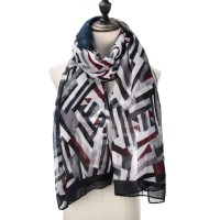 SF1002 Navy - Voile Geometric Colour Block Scarf