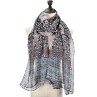 SF1012 Grey - Lightweight Colorful Printed Scarf