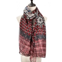 SF1012 Red - Lightweight Colorful Printed Scarf