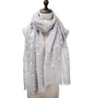 SF1041 Grey - Heron Print Supersoft Scarf