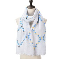 SF1044 White - Floral Print Supersoft Scarf