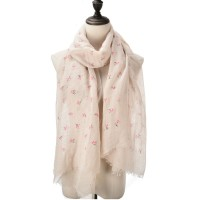 SF1046 Khaki - Floral Print Supersoft Scarf