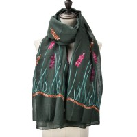 SF1052 Green - Floral Print Supersoft Scarf
