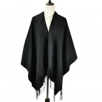 SF1081 Black - Supersoft Long Cape With Tassels