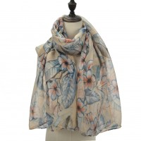 SF1090 Beige - Flowers & Leaves Pattern Matching Color Scarf For Women
