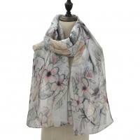 SF1090 White - Flowers & Leaves Pattern Matching Color Scarf For Women