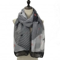 SF1091 Black - Girls Polka Dot Stripe Stars Pattern Scarf
