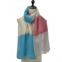 SF1093 Blue - Ladies Lightweight Scarf With Contrasting Gradient Colors