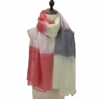 SF1093 Red - Ladies Lightweight Scarf With Contrasting Gradient Colors