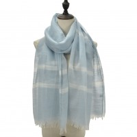 SF1094 Light Blue - Ladies Matching Colors Scarf With Tassel Trim