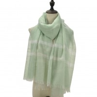 SF1094 Green - Ladies Matching Colors Scarf With Tassel Trim