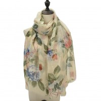 SF1101 Beige - Colorful Flowers & Small Sequins Pattern Scarf For Women