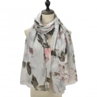 SF1101 Black - Colorful Flowers & Small Sequins Pattern Scarf For Women