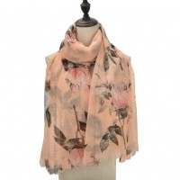 SF1101 Pink - Colorful Flowers & Small Sequins Pattern Scarf For Women