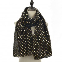 SF1104 Black - Golden Wave Point Pattern Scarf For Women