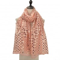 SF1104 Pink - Golden Wave Point Pattern Scarf For Women