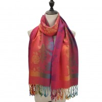 SF1109 Fushia - Bright Colors Large Flowers Patterns Scarf With Tassels For Women
