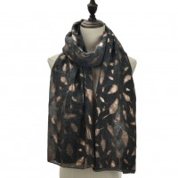 SF1111 Grey - Feather Patterns Shawl Scarf For Women