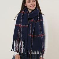 SF1129 Navy - Large Lattice Pattern Scarf With Tassels