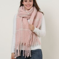 SF1129 Pink - Large Lattice Pattern Scarf With Tassels