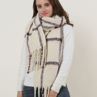 SF1129 White - Large Lattice Pattern Scarf With Tassels
