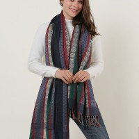 SF1132 Navy - Various Pattern Scarf With Colorful Tassels