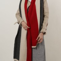 SF1147 Red - Three Pure Colors Scarf For Women