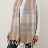 SF1152 Pink -Lattice Pattern Scarf With Tassels