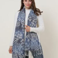SF1154 Blue -Gradually Changing Color Scarf With Tassels Trims