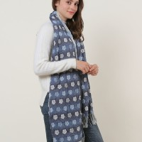 SF1155 Blue - Floral Pattern Scarf With Tassels Trims