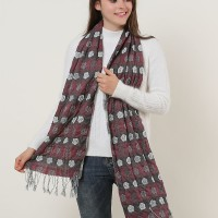 SF1155 Red - Floral Pattern Scarf With Tassels Trims