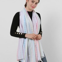 SF1156 White - Small Geometric Pattern Scarf With Tassels Trims