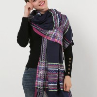 SF1157 Navy - Bohemia Style Small Geometric Pattern Scarf