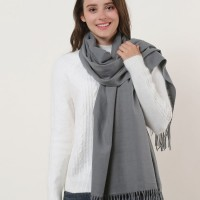 SF1159 Grey - Pure Color Scarf With Tassels Ends