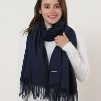 SF1159 Navy - Pure Color Scarf With Tassels Ends