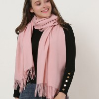 SF1159 Pink - Pure Color Scarf With Tassels Ends