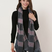 SF1161 Black - Lattice Pattern Scarf With Pearls Decoration