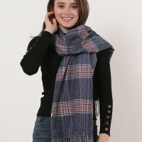 SF1161 Navy - Lattice Pattern Scarf With Pearls Decoration