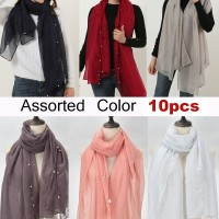 SF1163 Assorted - Voile Scarf With Pearls Decoration × 10pcs