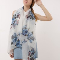 SF1166 White - Floral & Butterfly Pattern Scarf For Women