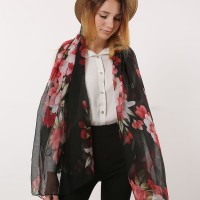 SF1167 Black - Classic Floral Pattern Scarf For Women