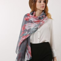 SF1167 Grey - Classic Floral Pattern Scarf For Women
