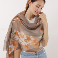 SF1167 Khaki - Classic Floral Pattern Scarf For Women