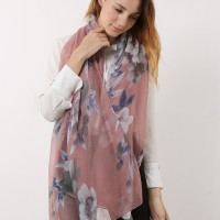 SF1167 Pink - Classic Floral Pattern Scarf For Women