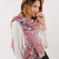 SF1171 Pink - Floral Pattern Scarf For Women